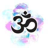 Black Ohm symbol on hand-drawn colorful pastel background, indian Diwali spiritual sign Om. Print, tattoo, yoga, spirituality. Black Ohm symbol on hand-drawn Royalty Free Stock Photography