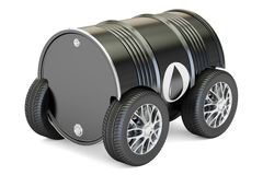 Black oil barrel with car wheels, transportation and delivery co. Ncept. 3D rendering on white background Royalty Free Stock Images