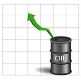 Black oil barrel with green arrow on white background eps 10 Royalty Free Stock Photos