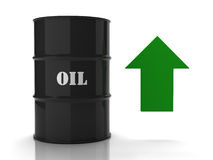 Black oil barrel with green upwards arrow. On white background stock illustration