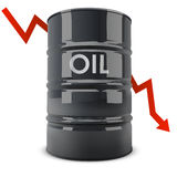 Black oil barrel with red arrow going down Stock Photography