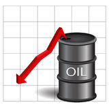 Black oil barrel with red arrow and grid on white background eps Stock Photography
