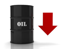 Black oil barrel with red downwards arrow Royalty Free Stock Image