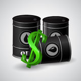 Black oil barrel and the sign of dollar. Black oil barrel and the sign of the dollar near the barrel stock illustration