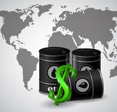 Black oil barrel and the sign of dollar. Black oil barrel and the sign of the dollar near the barrel on worls map royalty free illustration
