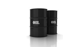 Black oil barrels. With mark on white background Stock Image