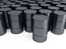 Black oil barrels. 3d render Royalty Free Stock Image