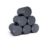 Black oil barrels Royalty Free Stock Images