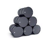 Black oil barrels. 3d render Royalty Free Stock Images