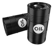 Black oil barrels Royalty Free Stock Photos
