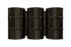 Black oil barrels - 3d. Made Stock Photos