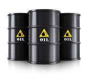 Black oil barrels. Creative abstract oil and gas industry business concept: group of black oil barrels or drums isolated on white background with reflection stock illustration