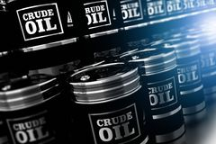 Black Oil Barrels 3D. Illustration. Silver Metallic Black Crude Oil Barrels Pile Stock Photo