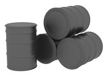 Black oil barrels. 3d render isolated on white background Stock Images