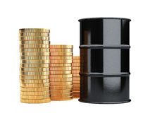 Black oil barrels and golden coins money cash isolated on white Royalty Free Stock Photo