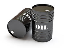 Black oil barrels Stock Photography