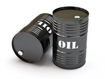 Black oil barrels. Group of black oil barrels, 3d illustration Stock Photography