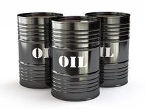 Black oil barrels. Group of black oil barrels, 3d illustration Stock Photo