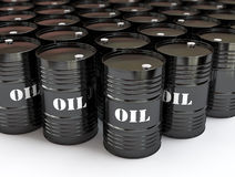 Black oil barrels. Group of black oil barrels, 3d illustration Stock Photo