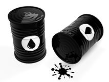 Black oil barrels. Isolated on white background.3d illustration Stock Photos