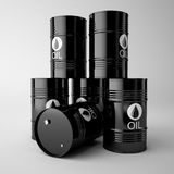 Black oil barrels isolated on white background. Royalty Free Stock Photo