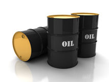 Black oil barrels with mark. On white background stock illustration