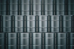 Black oil barrels. Stacked black oil barrels. 3D Rendering vector illustration