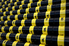 Black oil barrels wall Stock Image