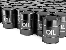 Black oil barrels Royalty Free Stock Image