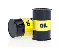 Black oil barrels  on white background Royalty Free Stock Photos