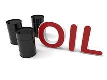 Black oil barrels on white Royalty Free Stock Photo