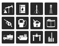 Black Oil and petrol industry icons. Vector icon set Royalty Free Stock Images