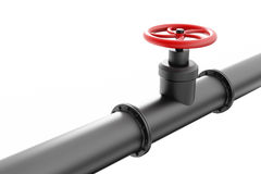 Black oil pipe with red valve. Isolated on white background Stock Photo