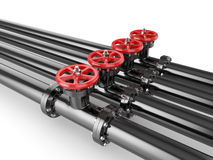 Black oil pipes with red valve Royalty Free Stock Image