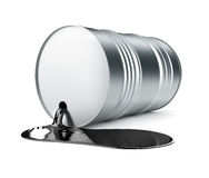 Black oil pouring in pool from barrel. Black oil pouring in pool from open metallic barrel. 3d rendered illustration.  on white background. Clipping path Royalty Free Stock Photos
