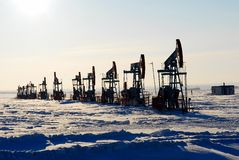 Black oil pump Stock Photos