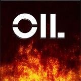 Black Oil. The word Oil with turbulent flames beneath Stock Photos