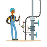 Black oilman worker on an oil pipeline controlling gauges, transportation of oil and petrol vector illustration Royalty Free Stock Photography