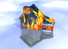 Black Oily Home on Fire House Model. With Reflection Concept For Risk or Property Insurance Protection Stock Photos