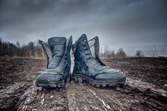 Black old Army Boots. Stock Photos