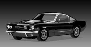 Black old car. On a dark background stock illustration