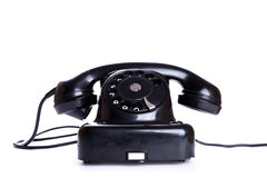 Black, old or classic telephone, isolated on a white background Royalty Free Stock Photos