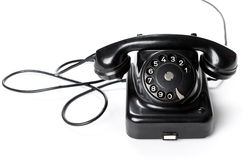 Black, old or classic telephone, isolated on a white background Stock Photo