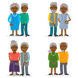 Black old couples set. Stock Photography