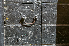 Black old door background classical facade Royalty Free Stock Photography