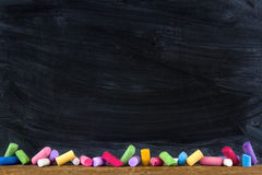 Black old empty chalkboard Stock Photo