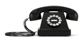 Black old-fashioned phone on white background. 3d illustration of black old-fashioned phone on white background Stock Image