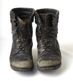 Black old military boots Stock Photos