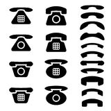 Black old phone and receiver symbols Royalty Free Stock Photos