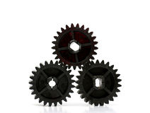 Black old plastic dirty cogwheel Royalty Free Stock Photos